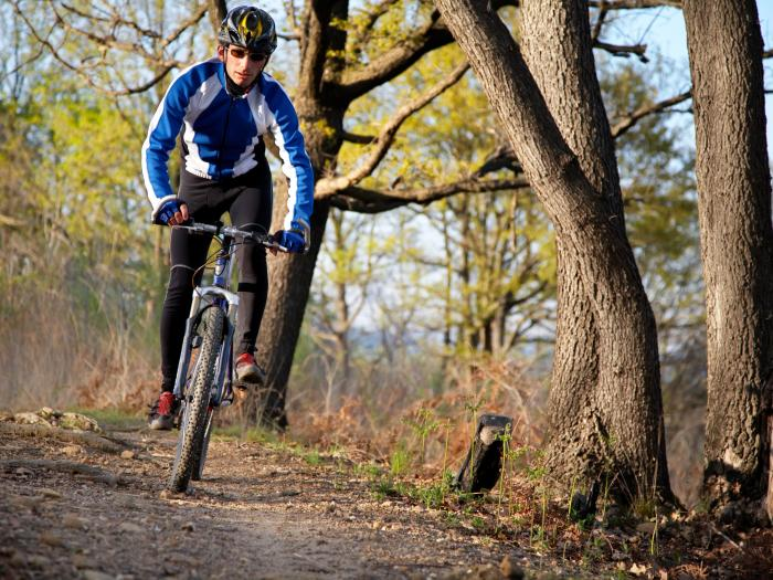 Cyclist on mountain bike trail