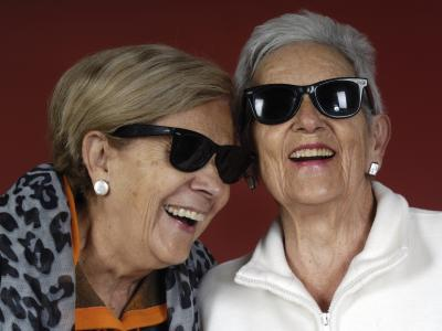 Elderly women wearing sunglasses