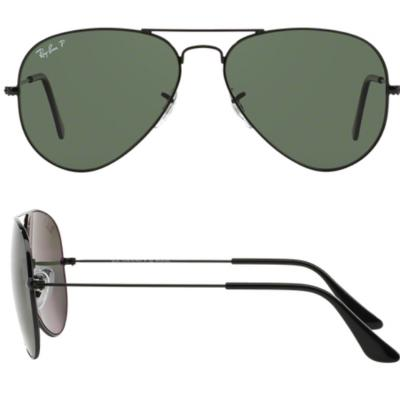Ray-Ban Aviator In Black With Crystal Green Polarised Lenses RB3025 002/58