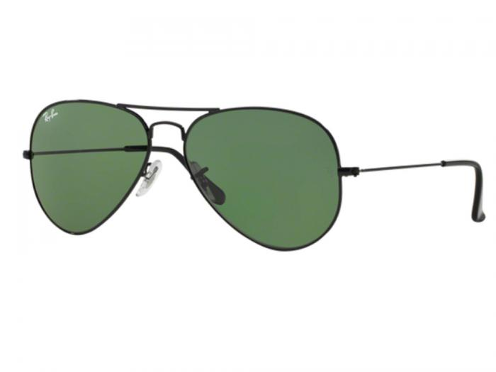 Ray-Ban Aviator In Black With Crystal Grey/Green Lenses RB3025 L2823