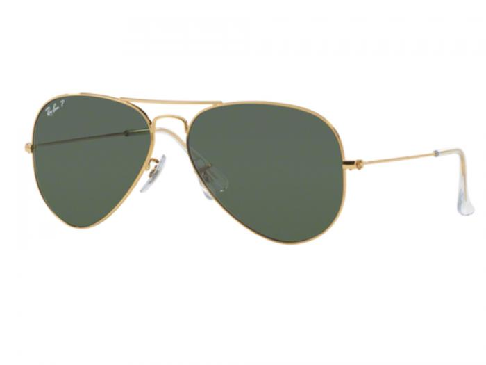 Ray-Ban Aviator In Gold With Polarised Crystal Green Lenses RB3025 001/58