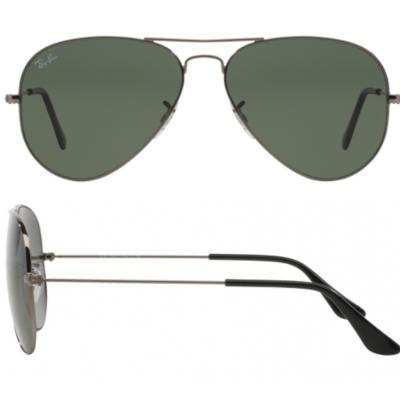 Ray-Ban Aviator In Gunmetal With Crystal Green Lenses RB3025 W0879