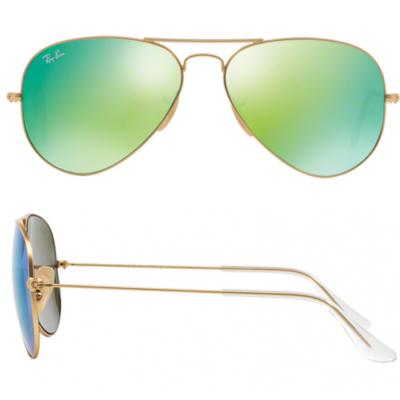 Ray-Ban Aviator In Matte Gold With Mirror Green Lenses RB3025 112-19