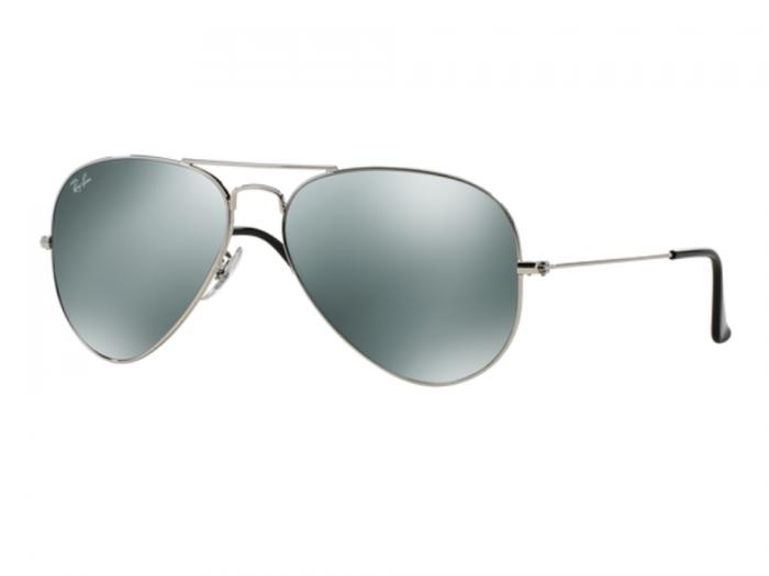 Ray-Ban Aviator In Silver With Crystal Grey Mirror Lenses RB3025 W3277