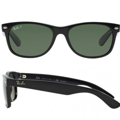 Ray-Ban New Wayfarer In Black With Crystal Green Polarised Lenses RB2132 901-58