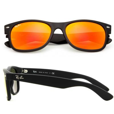 Ray-Ban New Wayfarer In Rubber Black Flash Mirror Brown LIMITED EDITION RB2132 622-69
