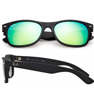 Ray-Ban New Wayfarer In Rubber Black / Green Flash Mirror LIMITED EDITION RB2132 622/19
