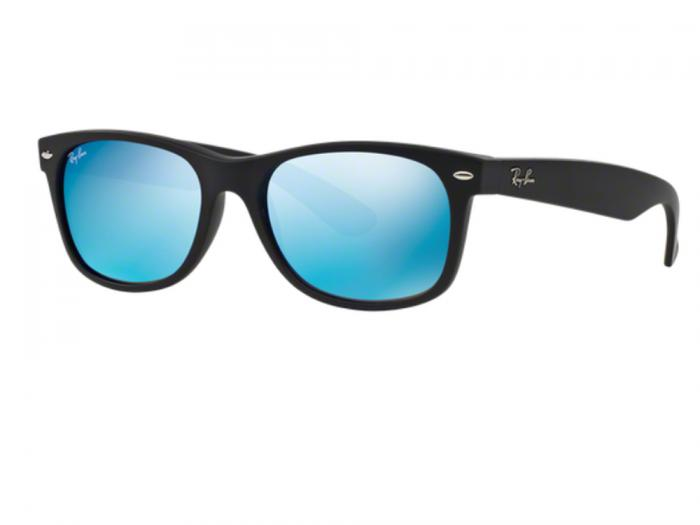 Ray-Ban New Wayfarer Rubber Black / Mirror Blue Flash RB2132 622/17