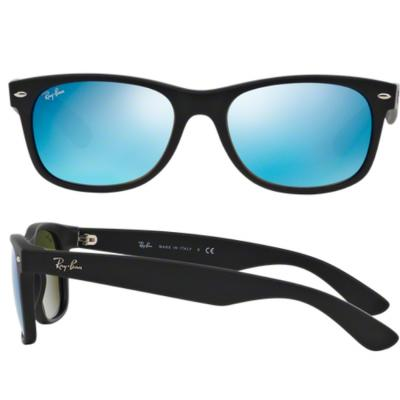 f8758eae8b8 Ray-Ban New Wayfarer Rubber Black   Mirror Blue Flash RB2132 622 17