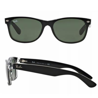 rb2132_6052_shot2 Ray-Ban New Wayfarer Bicolor Black-Transparent / Green