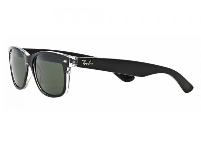 rb2132_6052_tq Ray-Ban New Wayfarer Bicolor Black-Transparent / Green