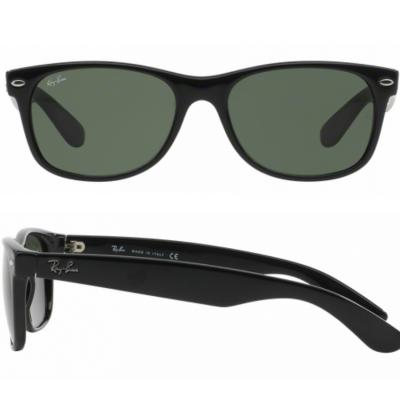 ee67d44d111 Ray-Ban RB2132 New Wayfarer Sunglasses Shiny Black Crystal Green Lenses