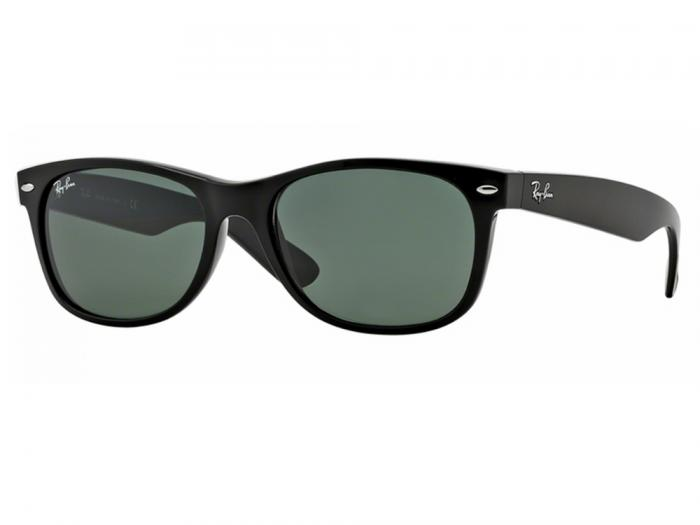 rb2132_901L_tq Ray-Ban New Wayfarer Shiny Black Crystal Green