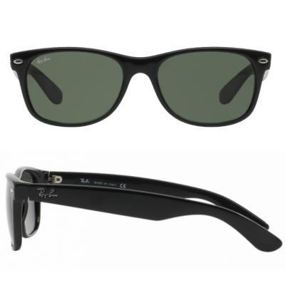 rb2132_901_shot2 Ray-Ban New Wayfarer in Black With Crystal Green Lenses