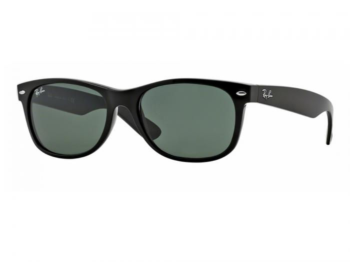rb2132_901_tq Ray-Ban New Wayfarer in Black With Crystal Green Lenses