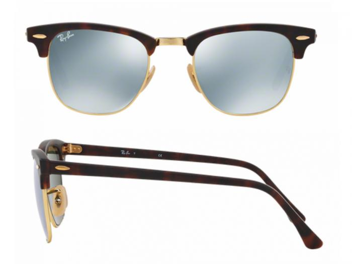 70f81cb5d9d rb3016 114530 shot2 Ray-Ban Clubmaster in Havana with Crystal Green Mirror  Lenses