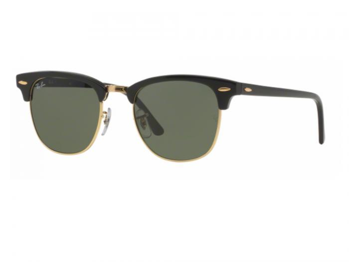 rb3016_W0365_tq Ray-Ban Clubmaster in Ebony with Crystal Green Lenses