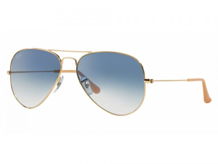 Ray-Ban Aviator RB3025 Sunglasses Gold with Crystal Gradient Blue Lenses