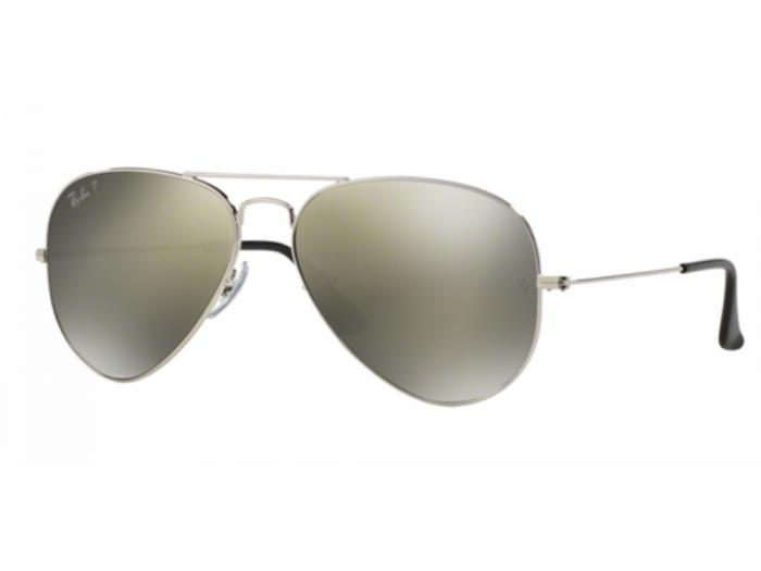 ed55dae1e0 Ray-Ban Aviator RB3025 Sunglasses Silver with Polarised Polar Green ...
