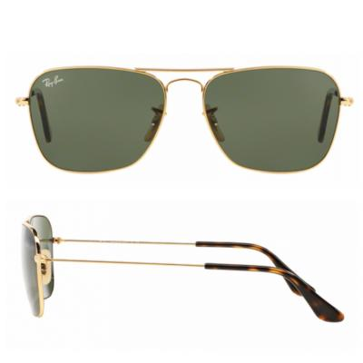 rb3136_001_shot2 Ray-Ban Caravan Gold with Dark Green Crystal Lenses