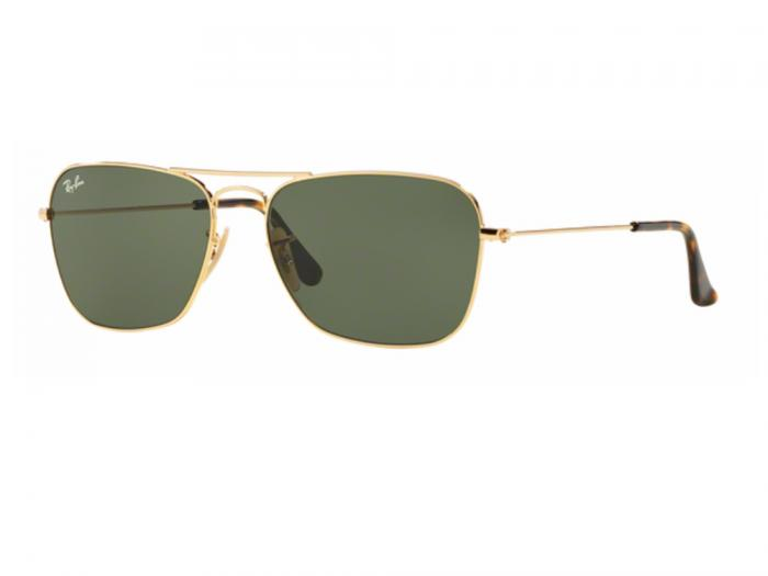 rb3136_001_tq Ray-Ban Caravan Gold with Dark Green Crystal Lenses