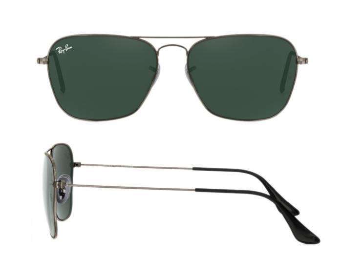 1da1a6f3d5 rb3136 004 shot2 Ray-Ban Caravan Gunmetal with Green Crystal Lenses