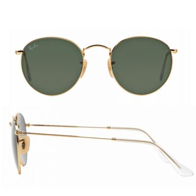 rb3447_001_shot2 Ray-Ban Round Metal Gold with Green Crystal Lenses