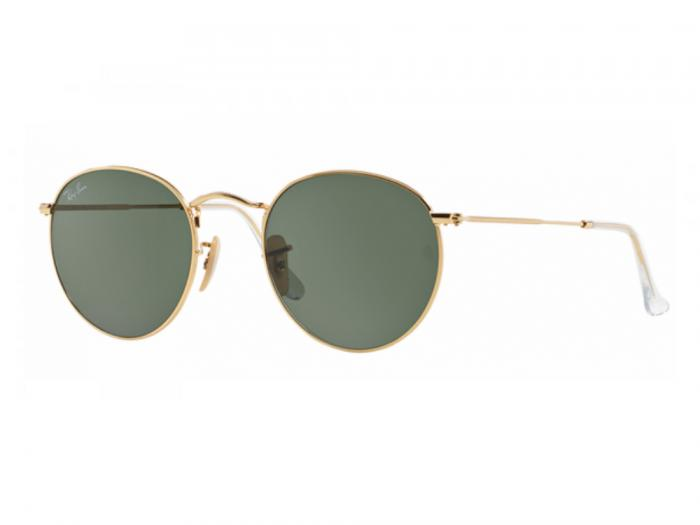 rb3447_001_tq Ray-Ban Round Metal Gold with Green Crystal Lenses