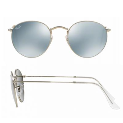 rb3447_019-30_shot2 Ray-Ban Round Matte Silver with Green Mirror Lenses