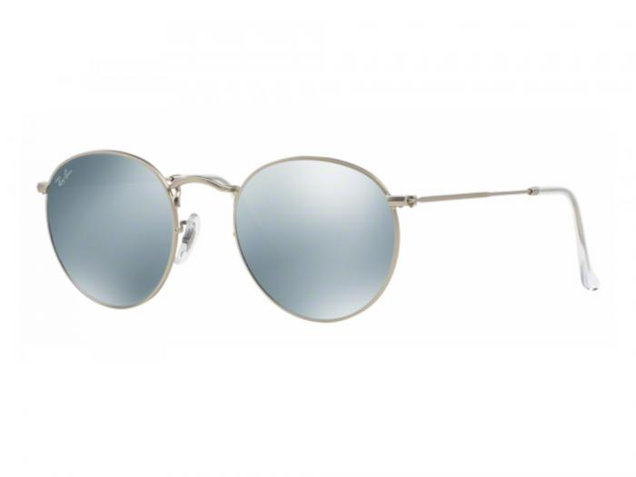 rb3447_019-30_tq Ray-Ban Round Matte Silver with Green Mirror Lenses