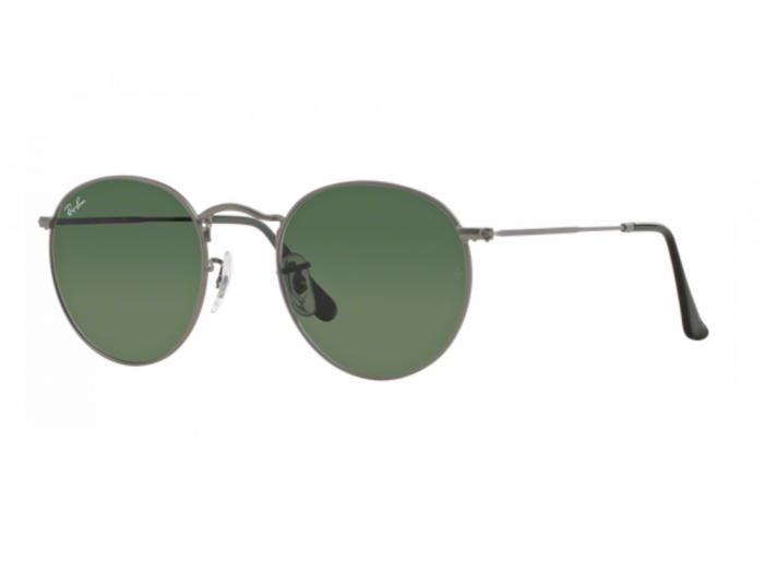 c77f1e25ae Ray-Ban RB3447 Round Metal Sunglasses in Matte Gunmetal with Green ...