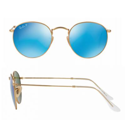 rb3447_112-4Lshot2 Ray-Ban Round Metal Matte Gold with Crystal Blue Mirror Polarised Lenses