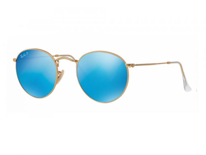 rb3447_112-4L_tq Ray-Ban Round Metal Matte Gold with Crystal Blue Mirror Polarised Lenses