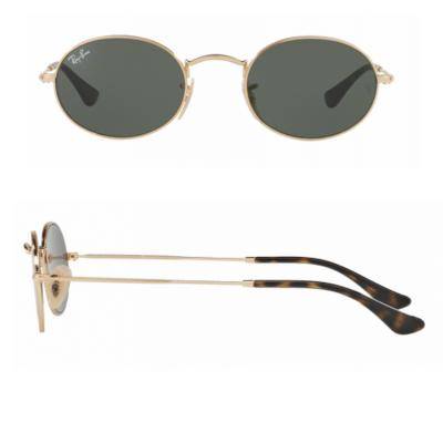 Ray-Ban Oval Flat Gold with Green Crystal Lenses