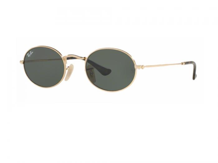 Ray-Ban Oval Flat in Gold with Green Crystal Lenses