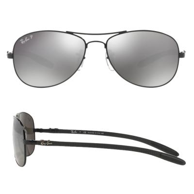 rb8301_002_K7_shot2 Ray-Ban Carbon Fibre Black / Grey Mirror Polarised