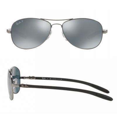rb8301_004_K6_shot2 Ray-Ban Carbon Fibre Shiny Gunmetal / Blue Mirror Silver Polarised