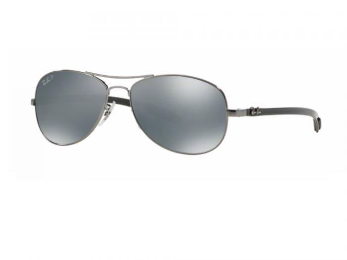 rb8301_004_K6_tq Ray-Ban Carbon Fibre Shiny Gunmetal / Blue Mirror Silver Polarised
