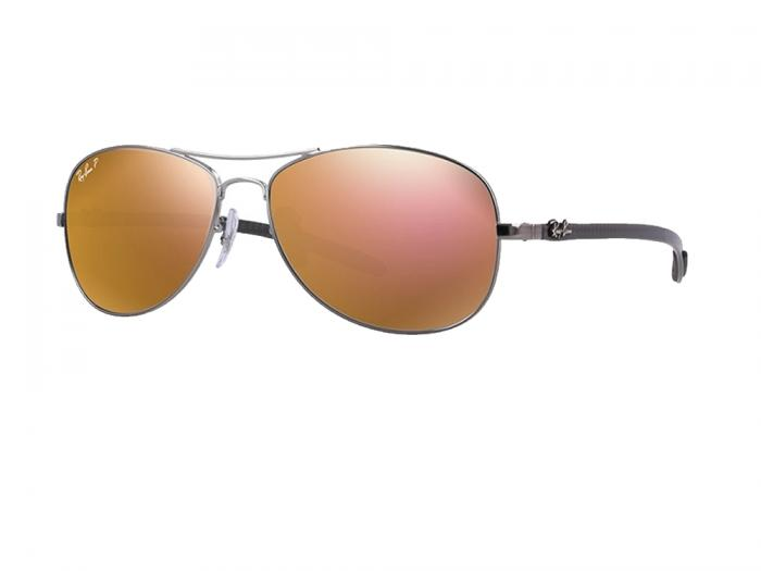 7d5b86400 RB8301 Ray-Ban Tech Carbon Fibre Gunmetal with Grey Gold Mirror Polarised  Lenses