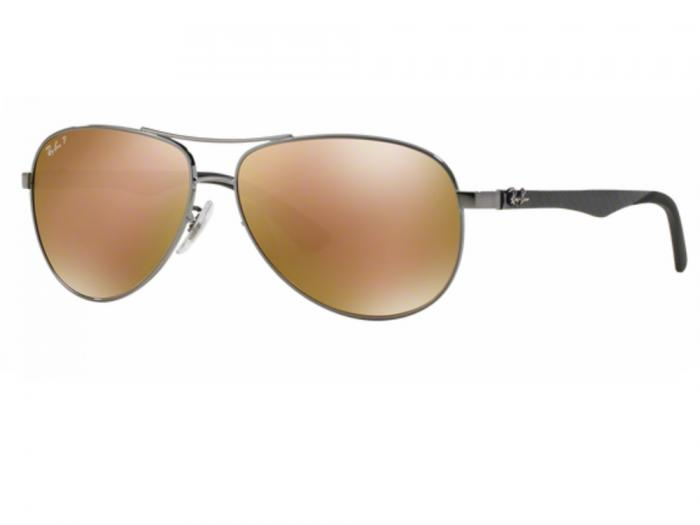 rb8313_004_N3_tq Ray-Ban Carbon Fibre XL Gunmetal / Brown Mirror Gold Polarised